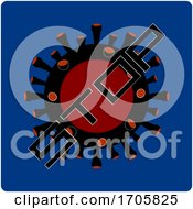 Stop Virus Icon On Blue Background