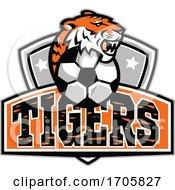 Tiger Head Soccer Ball CREST MASCOT by patrimonio