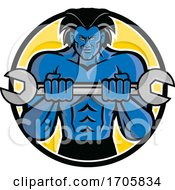 Blue Muscular Monster With Big Hair Holding A Wrench Or Spanner