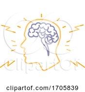 Human Head With Brain Neural Activity