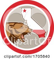 Bear With California State Map Circle Icon