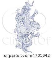 Koi Carp Transforming Into Dragon Tattoo Drawing