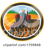 Poster, Art Print Of Farmer Driving Tractor Plowing Field Circle Retro