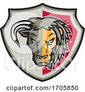 Half Bull Half Lion Head Shield Mascot