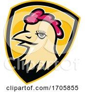 Hen Head Shield Mascot