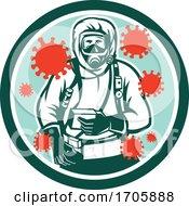 Coronavirus Haz Chem Suit Front CIRC RETRO by patrimonio