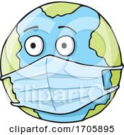 Poster, Art Print Of Coronavirus Covid 19 Planet Earth Wearing A Surgical Mask