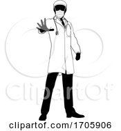 Doctor In PPE Mask Stop Hand Sign Medical Concept by AtStockIllustration