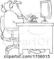 Cartoon Lineart Old Woman Looking Up At Her Computer Desk