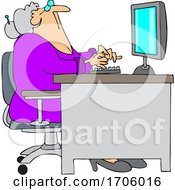 Poster, Art Print Of Cartoon Old Woman Looking Up At Her Computer Desk