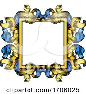 Crest Banner Border Scroll Heraldic Woodcut Frame