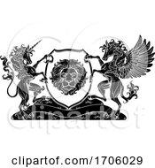 Poster, Art Print Of Coat Of Arms Crest Pegasus Unicorn Lion Shield