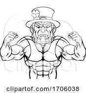 Poster, Art Print Of Leprechaun Sports Mascot Cartoon Character