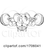 Elephant Mascot Weight Lifting Body Builder