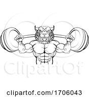 Wildcat Mascot Weight Lifting Body Builder