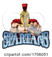 Poster, Art Print Of Spartan Trojan Gamer Warrior Controller Mascot