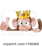 Poster, Art Print Of Monkey King Crown Cartoon Animal Thumbs Up Sign