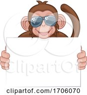 Monkey Sunglasses Cartoon Animal Holding Sign