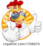 Poster, Art Print Of Cool King Chicken Rooster Cockerel Bird Cartoon