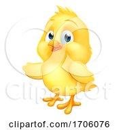 Poster, Art Print Of Baby Chicken Chick Easter Bird Cartoon Pointing