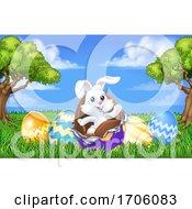 Poster, Art Print Of Easter Bunny Rabbit Breaking Chocolate Egg Scene