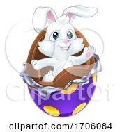 Poster, Art Print Of Easter Bunny Rabbit Breaking Chocolate Egg Cartoon