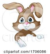 Poster, Art Print Of Easter Bunny Rabbit Cartoon Sign