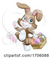 Poster, Art Print Of Easter Bunny Rabbit Eggs Basket Cartoon