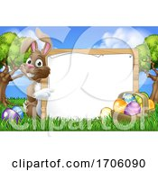 Poster, Art Print Of Easter Bunny Sign Eggs Basket Background Cartoon