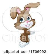 Poster, Art Print Of Easter Bunny Rabbit Peeking Pointing Sign Cartoon