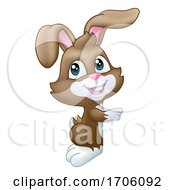 Easter Bunny Rabbit Peeking Pointing Sign Cartoon