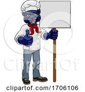 Poster, Art Print Of Panther Chef Cartoon Restaurant Mascot Sign