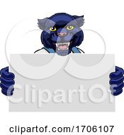 Panther Cartoon Mascot Handyman Holding Sign by AtStockIllustration