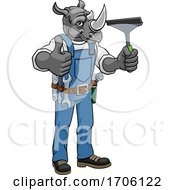 Poster, Art Print Of Rhino Car Or Window Cleaner Holding Squeegee