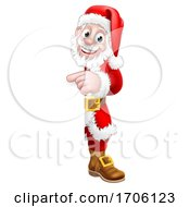 Santa Claus Christmas Cartoon Peeking Pointing