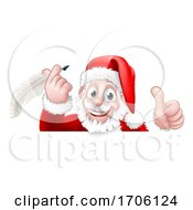 Santa Claus Peeking Quill Pen Scroll Cartoon