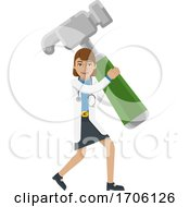 Doctor Woman Holding Hammer Mascot Concept