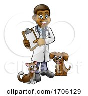 Poster, Art Print Of Vet Cartoon Character Holding Clipboard