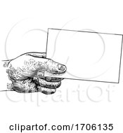 Hand Holding Business Card Flyer Note Frame Sign