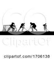 Poster, Art Print Of Ice Hockey Players Silhouette Match Game Scene