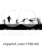 Poster, Art Print Of Soccer Football Players Silhouette Match Scene