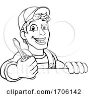 Poster, Art Print Of Electrician Cartoon Handyman Plumber Mechanic