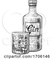 Gin Bottle Glass And Ice Vintage Etching Style