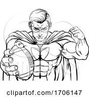 Superhero Holding Football Ball Sports Mascot
