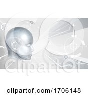 Poster, Art Print Of Technology Cyber Face Digital Ai Head Background