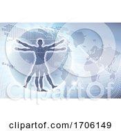 Poster, Art Print Of Vitruvian Man World Map Background