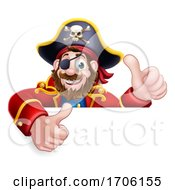 Pirate Captain Cartoon Peeking Background Sign