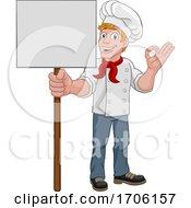 Chef Cook Baker Man Cartoon Holding Sign