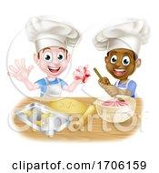 Poster, Art Print Of Cartoon Boys Baking Cakes