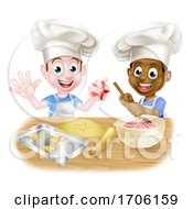 Cartoon Boys Baking Cakes
